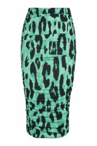 Womens Rouched Side Leopard Print Midi Skirt - green - 8, Green