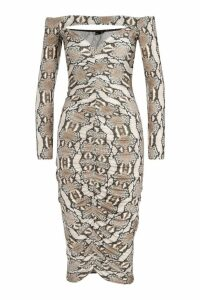 Womens Snake Print Off The Shoulder Ruched Midi Dress - beige - 6, Beige