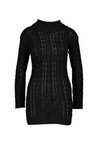 Womens Knitted Jumper Dress - black - M/L, Black