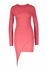 Womens Ribbed High Neck Wrap Skirt Midi Dress - pink - 8, Pink
