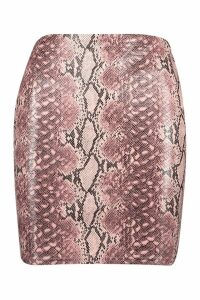 Womens Snake Leather Look Mini Skirt - Pink - 14, Pink