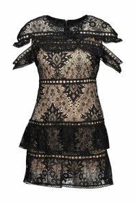 Womens Sleeve Detail Lace Tiered Mini Dress - black - S, Black