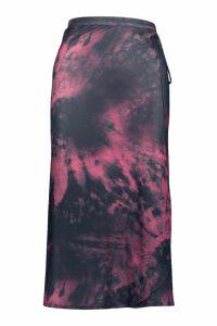 Womens Tie Dye Wrap Midi Skirt - purple - 8, Purple