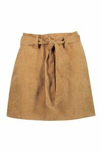 Womens Pocket Front Tie Waist Cord A Line Mini Skirt - beige - 14, Beige