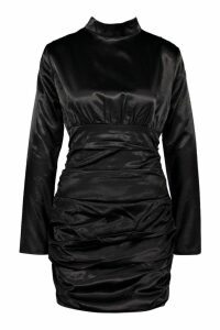 Womens Satin Long Sleeve Ruched Bodycon Dress - black - 8, Black