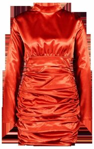 Womens Satin Long Sleeve Ruched Bodycon Dress - orange - 12, Orange