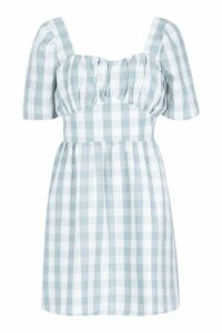 Womens Gingham Sweetheart Skater Dress - green - 8, Green
