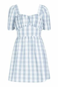 Womens Gingham Sweetheart Skater Dress - blue - 12, Blue