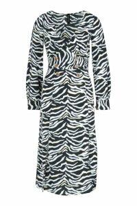 Womens Wrap Front Double Split Zebra Skater Dress - black - 16, Black