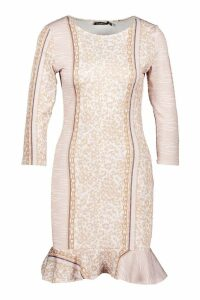 Womens Chain & Mixed Animal Print Bodycon Dress - Brown - 8, Brown