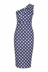Womens Spot One Shoulder Split Dress - navy - 8, Navy