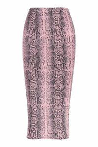 Womens Slinky Snake Print Midaxi Skirt - Pink - 8, Pink
