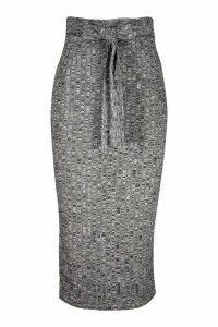 Womens Knitted Rib Tie Waist Midaxi Skirt - grey - 8, Grey