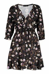 Womens Floral Print Ruffle Detail Tea Dress - black - 8, Black