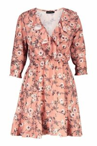 Womens Floral Print Ruffle Detail Tea Dress - pink - 16, Pink