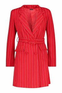 Womens Pinstripe O Ring Belted Blazer Dress - red - 12, Red