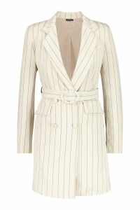 Womens Pinstripe O Ring Belted Blazer Dress - beige - 14, Beige