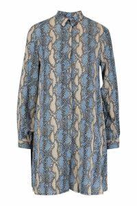Womens Woven Snake Print Shirt Shift Dress - cornflower blue - 8, Cornflower Blue