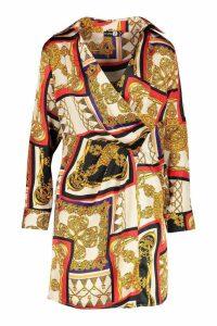 Womens Satin Scarf Print Shirt Dress - beige - 10, Beige