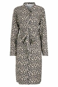 Womens Leopard Tie Waist Shirt Dress - yellow - 8, Yellow