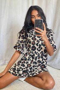 Womens Leopard Print Smock Dress - brown - 10, Brown