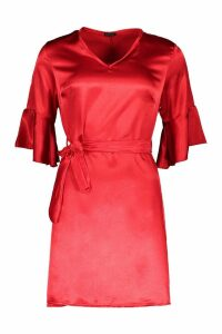Womens Woven Ruffle Sleeve Tie Dress - red - 10, Red
