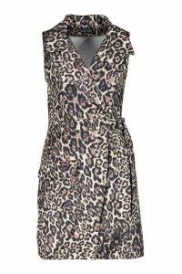 Womens Leopard Buckle Pocket Blazer Dress - beige - 8, Beige