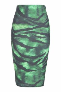 Womens Slinky Tiger Print Midi Skirt - green - 8, Green