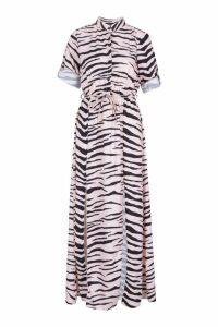 Womens Woven Zebra Maxi Shirt Split Dress - Pink - 10, Pink