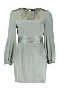 Womens Satin Blouson Sleeve Mini Dress - green - 8, Green