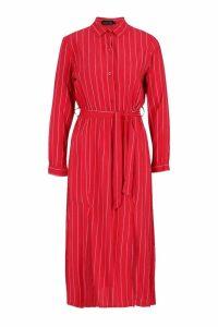 Womens Woven Pinstripe Tie Belt Midi Skirt Dress - red - 12, Red
