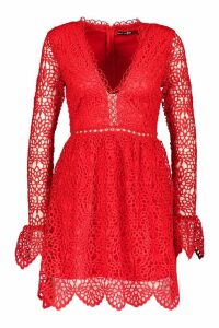 Womens Premium Lace Flared Sleeve Skater Dress - 16, Red