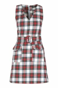 Womens Check Belted Pocket Pinny - red - 10, Red