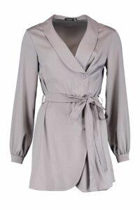 Womens Satin Wrap Over Tie Waist Dress - purple - 14, Purple