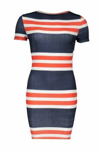 Womens Nautical Stripe Rib Slash Neck Mini Dress - navy - 8, Navy