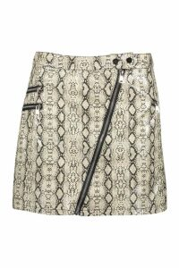 Womens Leather Look Snake Zip Front Mini Skirt - grey - M, Grey