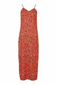Womens Woven Leopard Maxi Slip Dress - red - 8, Red