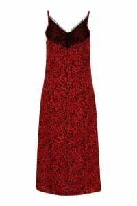 Womens Woven Lace Leopard Slip Dress - red - 10, Red