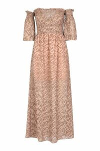 Womens Woven Spot Sheered Maxi Dress - beige - 8, Beige