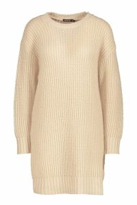 Womens Oversized Crew Neck Soft Knit Mini Dress - beige - M, Beige