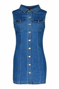 Womens Denim Sleeveless Button Front Dress - blue - XL, Blue