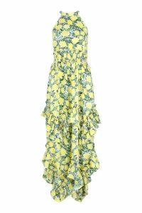 Womens Ruffle Detail Halterneck Floral Maxi Dress - yellow - 14, Yellow