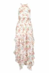 Womens Floral Shirred Waist Ruffle Detail Maxi Dress - Beige - 14, Beige