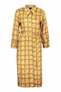 Womens Satin Chain Metal Belted Midi Shirt Dress - yellow - 8, Yellow