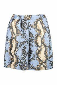 Womens Satin Snake Flippy Shorts - blue - 8, Blue