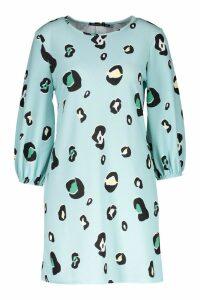 Womens Sage Abstract Animal Blouson Sleeve Shift Dress - green - 12, Green