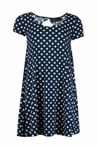 Womens Polka Dot Swing Jersey Dress - navy - S, Navy
