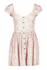 Womens Ditsy Cheesecloth Shirred Skater Dress - Pink - XS, Pink
