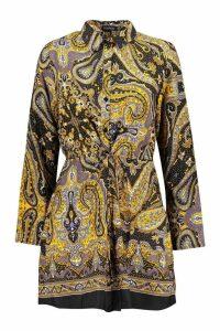 Womens Scarf Print Tie Waist Shirt Dress - black - 12, Black