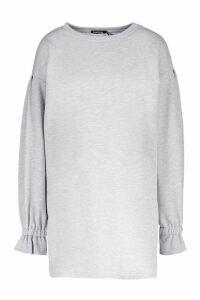 Womens Frill Sleeve Detail Sweat Dress - grey - 14, Grey